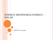 EVPP 111 Lecture - Energy - Renewable Energy - Solar - Fall 2010
