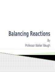 Balancing Reactions and Predicting Product (1)