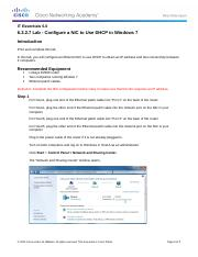 6.3.2.7 IG Lab - Configure a NIC to Use DHCP in Windows 7
