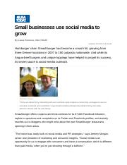 Small businesses use social media to grow