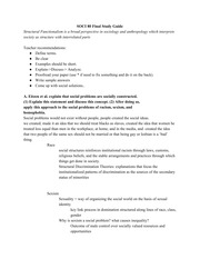 SOCI 80 Final Study Guide (Possible Essay Questions)