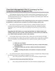 Classroom Management Part 2 Developing Your Own Comprehensive Behavior Management Plan .docx