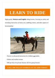 Horseback Riding Lessons Flyer
