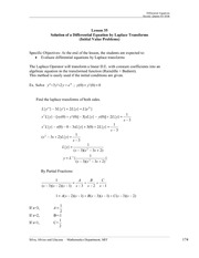 Solution of a DE by Laplace Transforms IVP