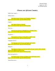 Anthropology 307- Choose an African Country- Walker