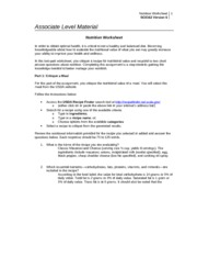 SCI 162 Health and Wellness Nutrition Worksheet