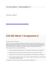 CIS 552 WEEK 7 ASSIGNMENT 2.docx