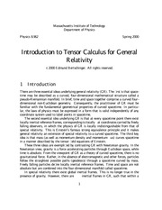 Introduction to Tensor Calculus for General Relativity