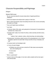 Religion 1009 Character Responsibility and Pilgrimage