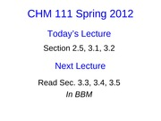 Lecture 7 CHM111 Student Slides
