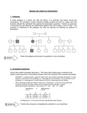 Printables Genetics Worksheet mendelian genetics worksheet 1 pedigrees a