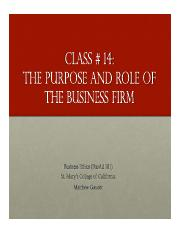 Business Ethics Class 14 - Purpose of the Firm