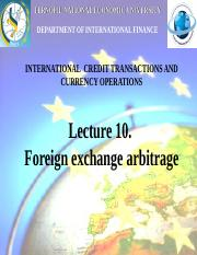 10. Foreign exchange arbitrage
