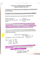 Week 13 optimization with inequality constraints notes