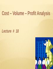 Lecture 7MA-CVP-Break Even Analysis