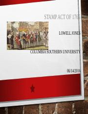 STAMP ACT OF 1765 Lowell Jones