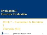 SUM11_Week 7b_2 - Evaluation I - Heuristic Evaluation