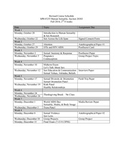 Revised Course Schedule - Fall 2014