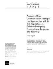Analysis of Risk Commo Strategies and Approaches with At Risk Populations to Enhance Emergency Prepa