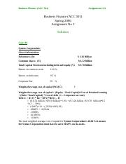 Business Finance - ACC501 Spring 2006 Assignment 08 Solution