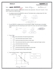 Financial Market Worksheet