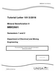 Mineral Exploitation Tutorial letter pdf - MEP171X Tutorial Letter