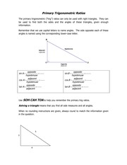 Worksheet Primary Trigonometric Ratios