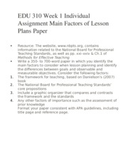 main factors of lesson plan papers Characteristics of a good lesson-plan 1 example quoted to teach and explain the subject matter should be related to the everyday life of the child 2 lesson-plan should be child-centred.