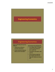 Lecture 19 - Engineering Economics