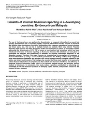 Benefits of internet financial reporting in a developing countries-(Ali Khan et al, 2013)