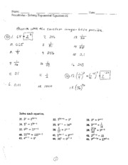 solving exponentional equations homework