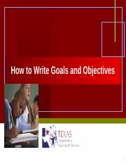 SHA-How to Write Goals and Objectives.ppt