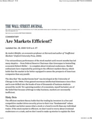 WSJ - Are Markets Efficient-No Arbitrage Is Inheritently Risky
