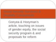 Gonyea & Hooyman on Social Security Survivors benefits