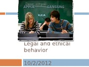 Legal and ethical behavior- Oct 2