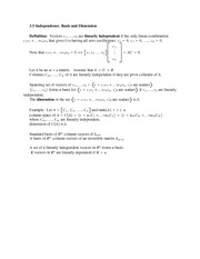 Lecture Notes on  Independence, Basis and Dimension