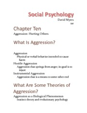 Chapter 10 - Aggression