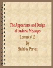 Lecture # 13 The Appearance business Letters