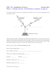 Worksheet on Equillibrium of Forces