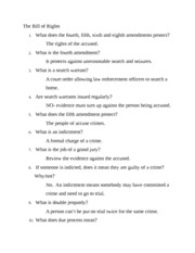 Bill Of Rights Worksheet With Answers The 1 What Does Fourth Fifth Sixth And Eighth Amendments Protect Accused 2