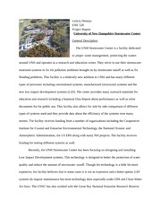 Project Report  University of New Hampshire Stormwater Center