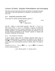 Lecture 10 Notes Singular Perturbations and Averaging