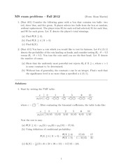 Statistics and Probability Exam Fall 2012