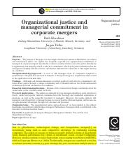 ---Klendauer (2008) organizational justice and managerial commitment in corporate mergers highlighte