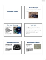 Lecture 20 Population Ecology