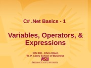 Variables, Operators, & Expressions
