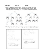 Quiz 7 Solution Spring 2013 on Binary Search Trees