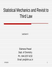 Statistical Mechanics and Revisit to Third Law