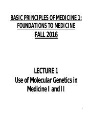 FTM Lectures 35 & 36 Use of Mol Gen in Med