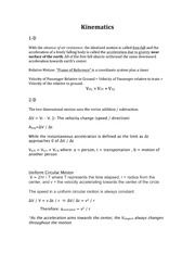 Lecture Note for Physics - PHY136 Kinematics